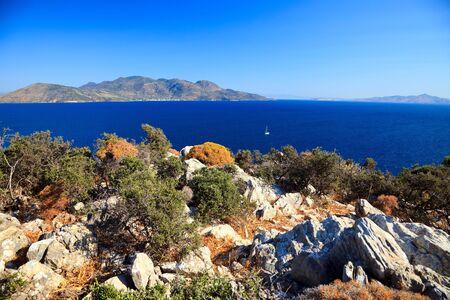 poros: Greek islands at sunny day, Poros, Greece Stock Photo