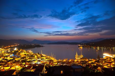 Greek islands at night, Poros, Greece photo