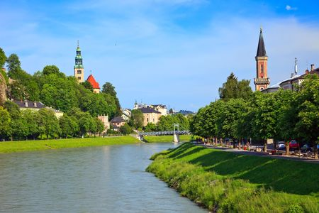 salzburg: River Salzach in Salzburg, Austria Stock Photo