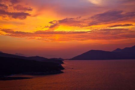 Beautiful sunset over Aegean sea, Greece Stock Photo - 5698938