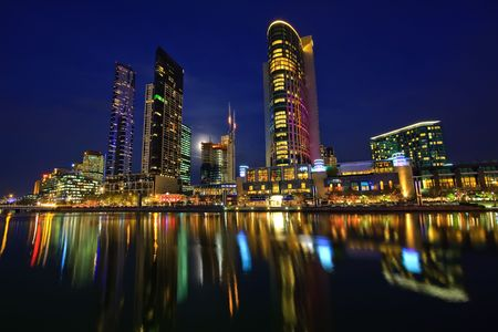 Downtown of Melbourne at night, Yarra river photo