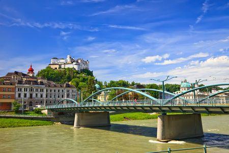 salzach: Veiw on Hohensalzburg Fortress, Salzburg, Austria Stock Photo
