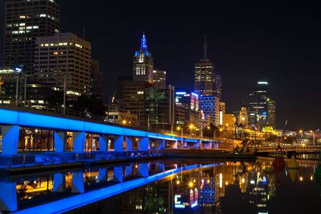 southbank: Downtown of Melbourne at night, Yarra river