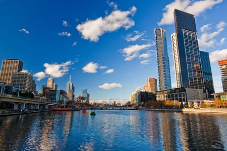 Skyscrapers on Yarra River, Melbourne Stock Photo