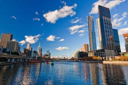 melbourne: Skyscrapers on Yarra River, Melbourne Stock Photo