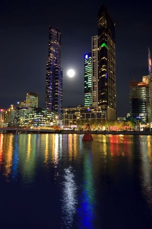Downtown of Melbourne at night, Yarra river