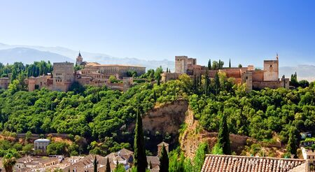 View on Alhambra at sunny day, Granada, Spain