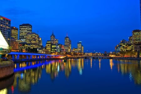 melbourne australia: Downtown of Melbourne at night