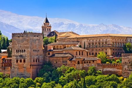andalucia: View on Alhambra at sunset, Granada, Spain