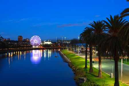 city living: Melbourne at night, view on Yarra river