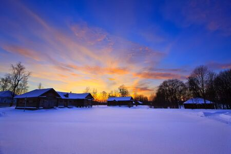 boldino: Sunset in countryside at winter, Russia