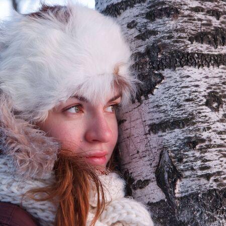 outwear: Portrait of young woman in winter outwear