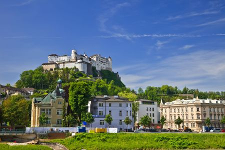 veiw: Veiw on Hohensalzburg Fortress, Salzburg, Austria Stock Photo