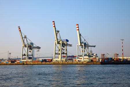 Cranes in Hamburg harbor, Germany photo