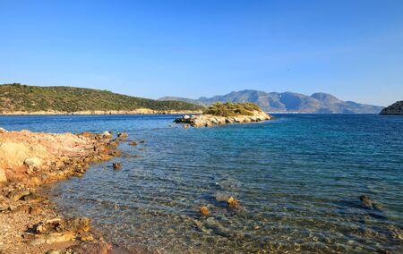 poros: Beautiful wild beach Stock Photo