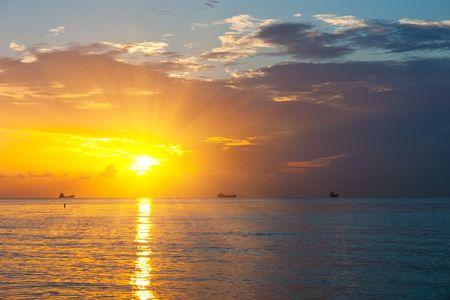 sunrise at the beach: Sunrise over Atlantic ocean, Miami Stock Photo