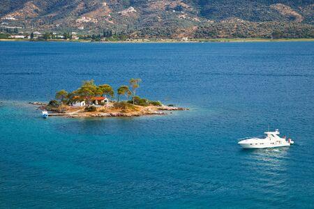 poros: Small island in Aegean sea, Greece Stock Photo