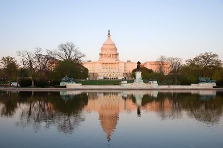 Capitol Hill at sunset, Washington DC photo