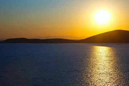 Sunrise over Aegean sea, Poros, Greece photo