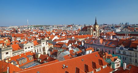 stary: Red roofs of Old Town, Prague, Czech Republic