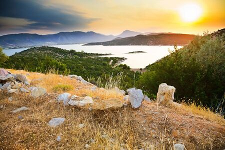 Sunset in Greece, Poros photo