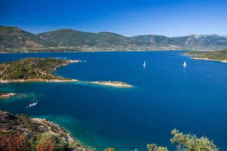 Yachts in Aegean sea near Poros, Greece Stock Photo - 6652430