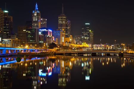 Downtown of Melbourne at night photo