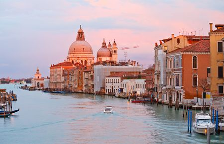 Grand canal at sunset, Venice Stock Photo