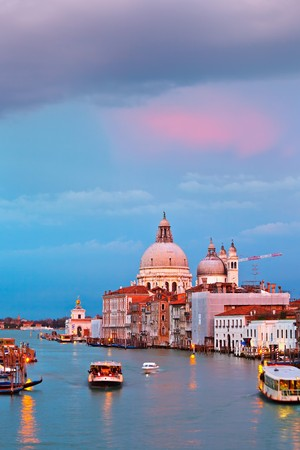 Basilica of Santa Maria della Salute at sunset, Venice photo