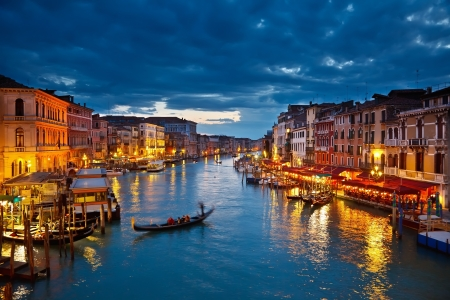 Grand Canal at night, Venice photo