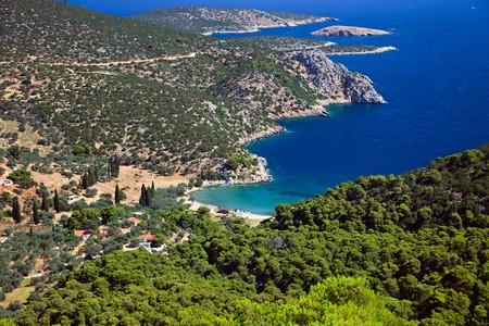 poros: Small quiet bay on greek island,  Poros