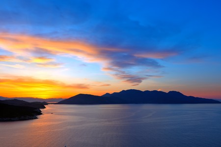Sunset over Aegean sea, Greece photo