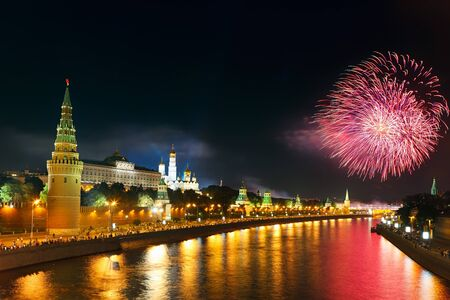 kremlin: Fireworks over Moscow kremlin Stock Photo