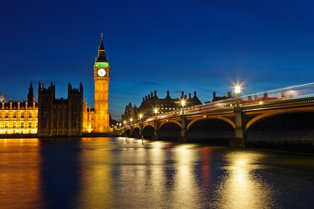 Big Ben and Houses of Parliament at night, London, UK Stock Photo - 7512173