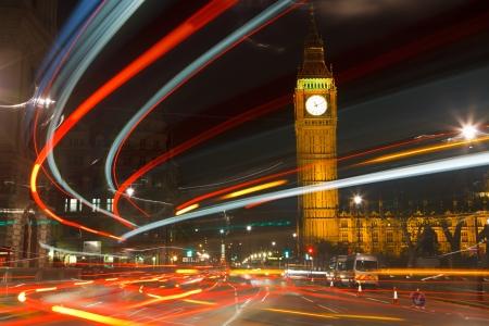 parliament: Traffic in night London, UK