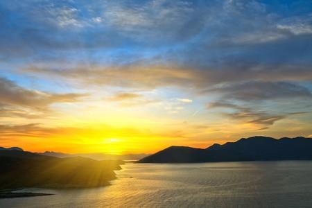 Beautiful sunset over Aegean sea, Greece photo