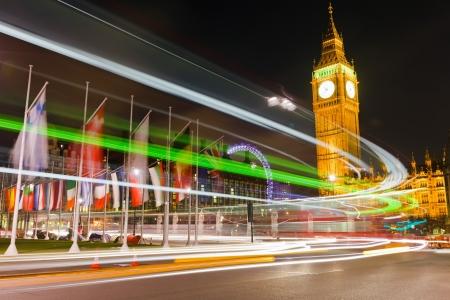 international landmark: Traffic in night London, UK