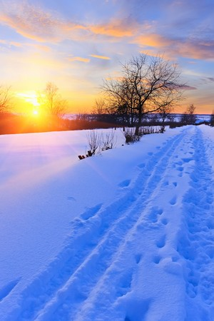 Winter sunset in countryside photo