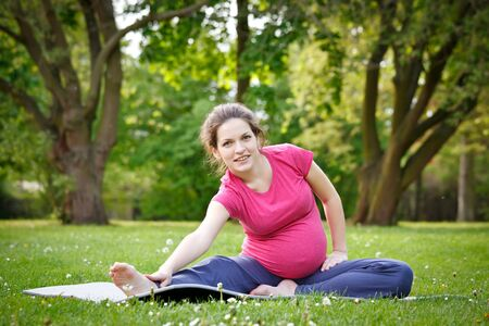 Beautiful pregnant woman practicing in the park Stock Photo - 7553094