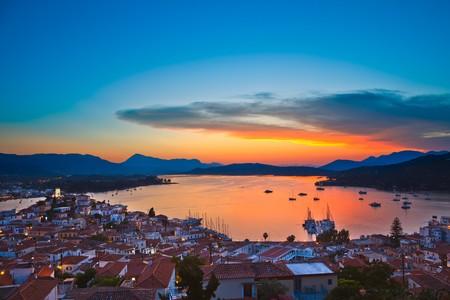 poros: Sunset over Aegean sea, Greece