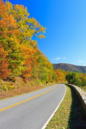 scenic drive: Shenandoah National park at autumn Stock Photo