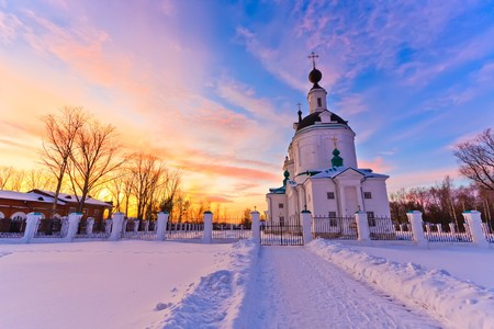 blue church: Russian church at sunset Stock Photo