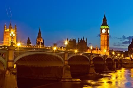 historical reflections: London at night, UK Stock Photo