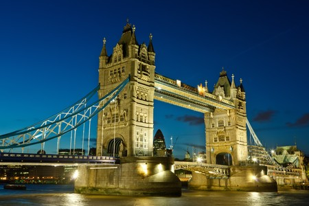 Tower Bridge at night, London, UK photo