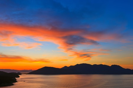 dramatic sky: Beautiful sunset in Greece Stock Photo
