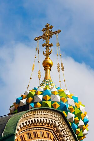 Golden cross of russian orthodox church photo