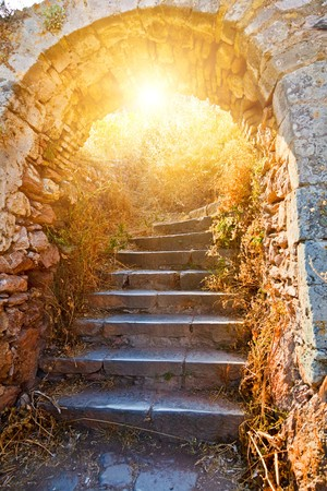 peloponissos: Old stone stairways in Palamidi fortress, Nafplio, Greece