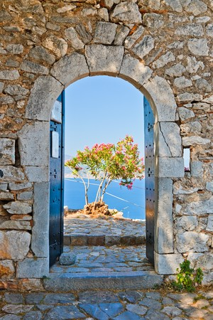 peloponissos: Gate in Palamidi fortress, Nafplio, Greece