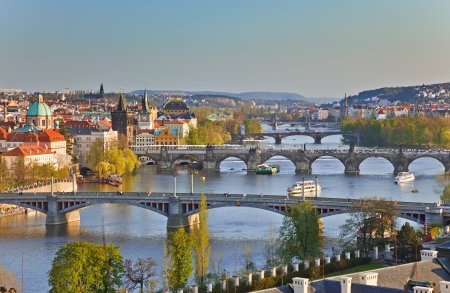 praha: View on Prague at sunset