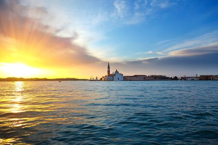 religious building: Sunrise in Venice Stock Photo